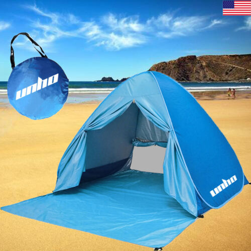 US 2-3 Person Portable Pop Up Beach Tent Anti-UV Sun Shade C