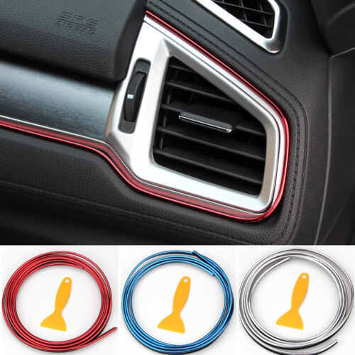 Car Parts - 5M Line Car Van Interior Decor Red Point Edge Gap Door Panel Accessories Molding