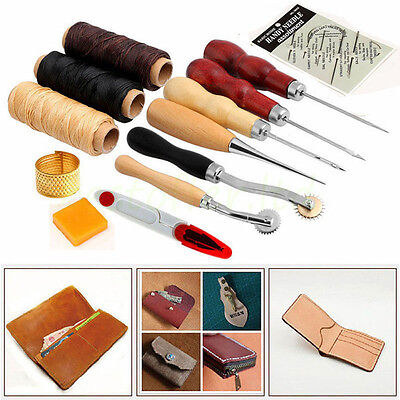 13 Pieces Craft Hand Stitching Sewing Tools for Sewing Leather Stamping Tool Set