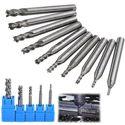 10x Heavy Duty End Mill Bit Cutter Set Cnc 4 Flute Router Kit Metal Milling Tool