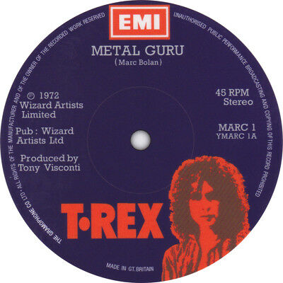 T.Rex. Metal Guru. Record label vinyl sticker. Marc Bolan