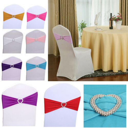 Various Color Spandex Tie Chair Sash Cover Band Stretch Bow Slider Sashes Shan