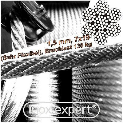 VA-Seil 1,5 mm 7X19 Edelstahl A4 Drahtseil sehr flexibel Stahlseil weich NIROSTA (1 4 Seil)
