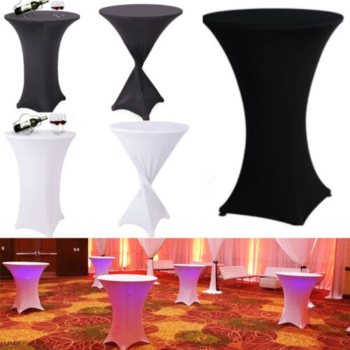 10X White /Black Cocktail Highboy Spandex Table Cover Round