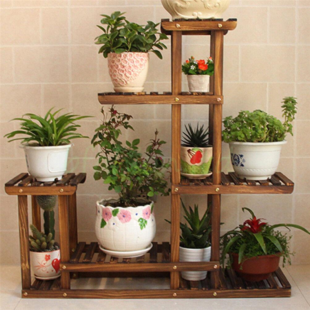 Shabby chic rustic wood flower display step shelf unit