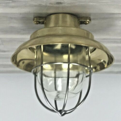Brass Nautical Ceiling Light With Stainless Cage and Deflector Cover