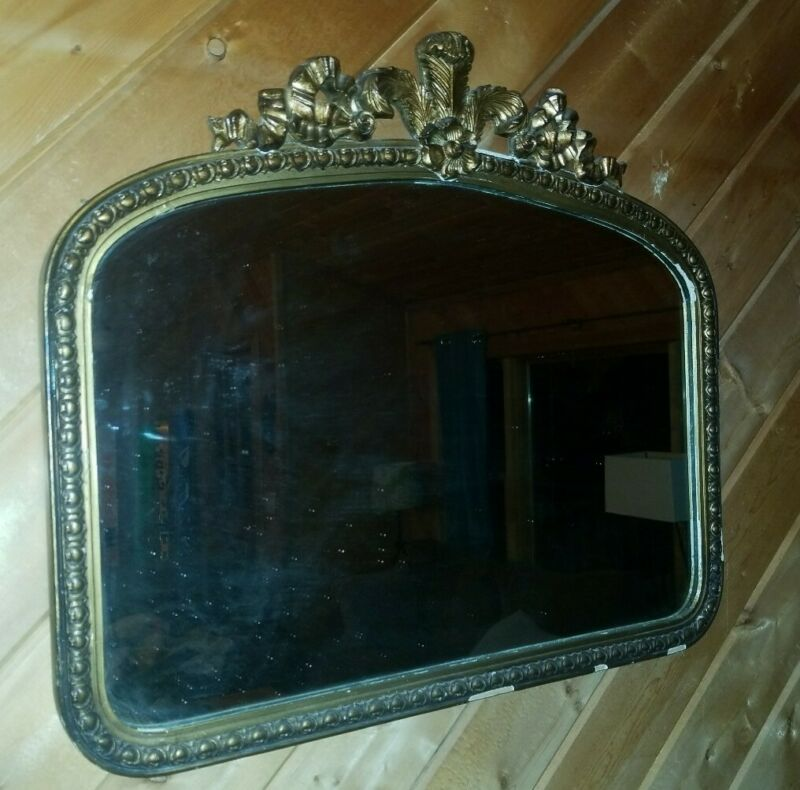 "Antique Mirror 28 x 24 "" Gold Hollywood Regency framed Gilt baroque vintage"