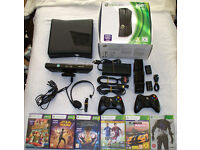 Xbox 360 slim 250gb with official controllers, kinect, games and more!!!!