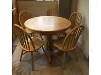 Round Extending Beech Pedestal Table & 5 Chairs