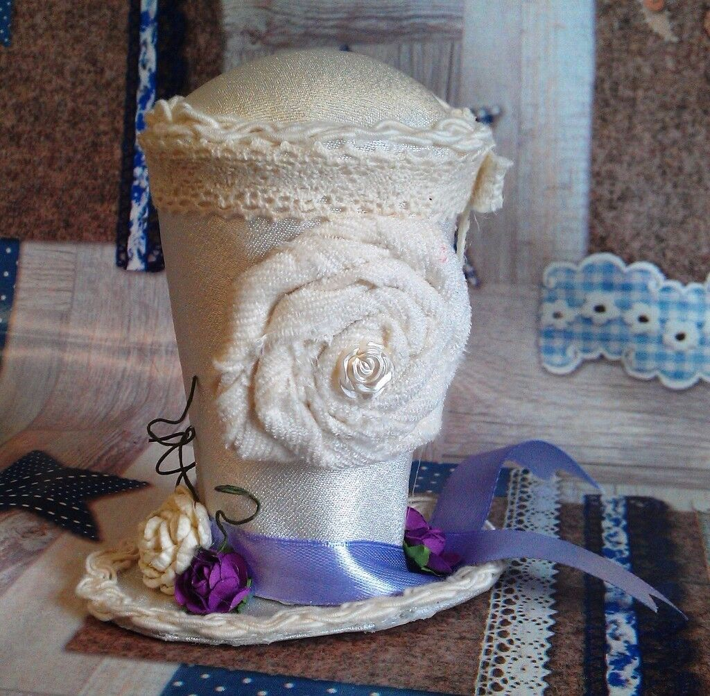 Handmade Shabby Chic Top Hat Pin Cushion
