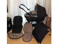 silver cross wayfarer black frame ,pram ,pushchair , raincover ,parasol ,footmuff ,bumper bar ,vgc