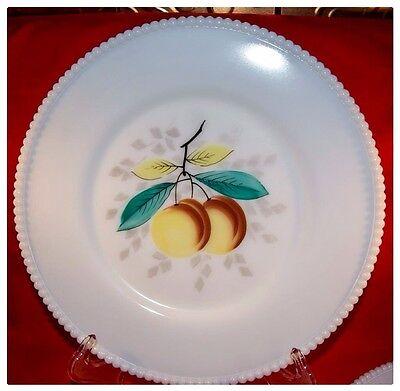 Westmoreland Beaded Edge Fruits Peach  Dinner Plate Milk Glass MINT