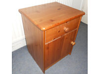 Solid Pine Cabinet with Drawer, Bedside Table