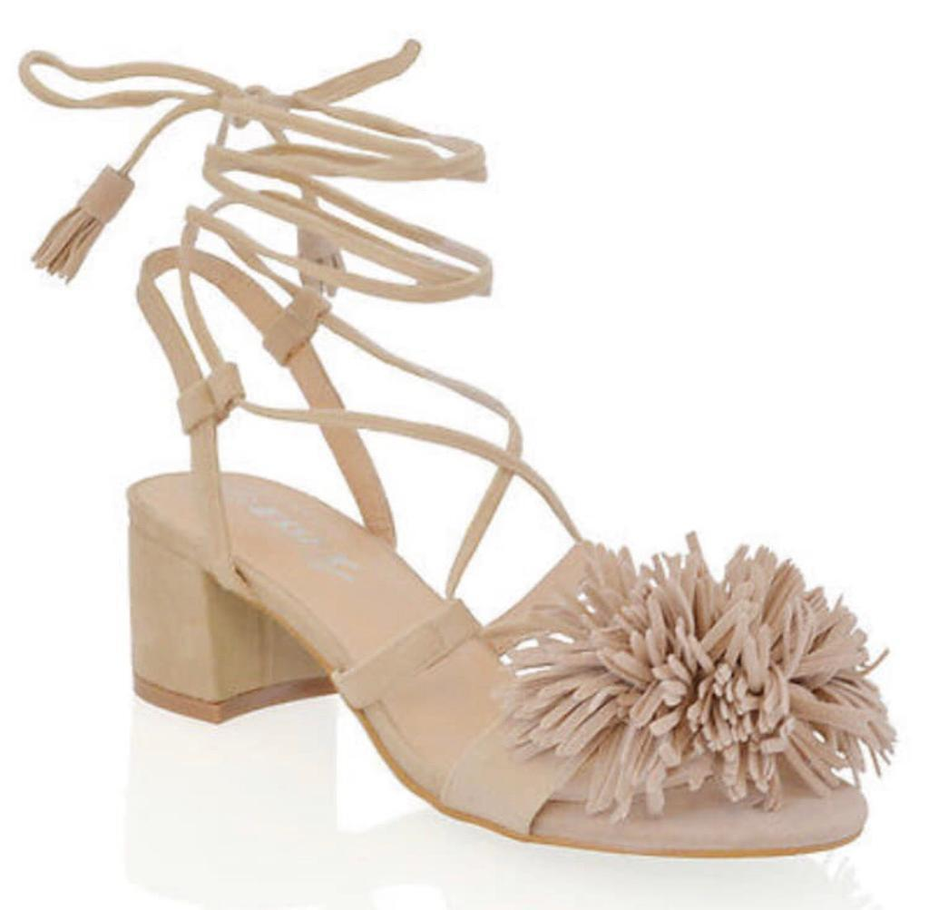 cf40105180b63c Women s Block Heel Faux Suede Tie Up Fringe Low Heel Sandal Shoes Size UK  6. Yardley ...