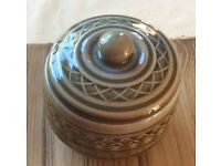 Irish Pottery Bowl With Lid in as new condition with markings on base