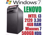 WINDOW 7 LENOVO COMPUTER TOWER DESKTOP INTEL CORE i3 2120 500GB HD 4GB RAM