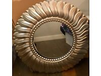 Champagne gold round wall mirror