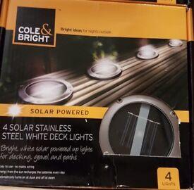 4 Solar Stainless Steel White Deck Lights
