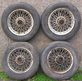 Lot 4 MGB GT 14-inch Wire Spoke Wheels