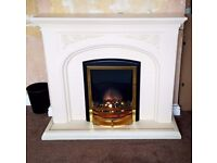 Fireplace - Brass Electric Fire – Stone Effect Surround