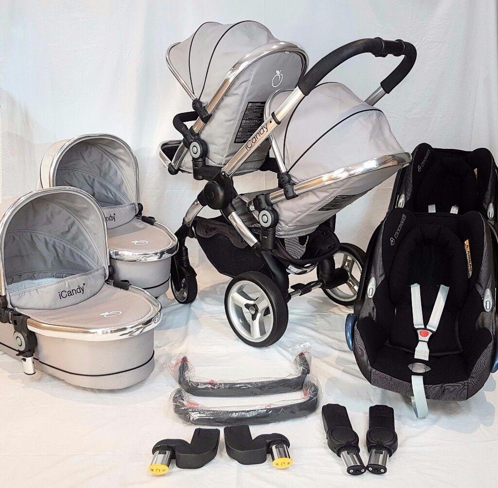 Icandy Peach Blossom TWIN ** 2 x Maxi Cosi Car Seats + Accessories