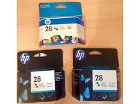 3 genuine HP 28 ink cartridges