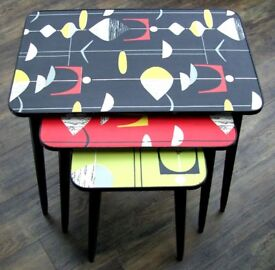 Retro 1960's Nest of Coffee Tables - Up-Cycled in Atomic Design Print