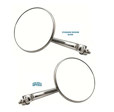 """4"""" CONVEX STRAIGHT ARM Peep Mirror Outside Side Door Frame View Hot Rat Rod Pair"""