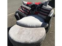 Swivel Cuddle Chair With Matching Half Moon Footstool. In Very Good Condition.