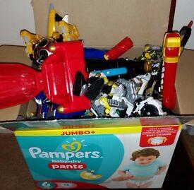 Large box Power Rangers figures, swords, guns, transforming animals/ bits, wrist disc throwers, etc