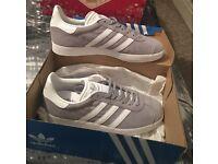 Ladies Grey Adidas Gazelle Trainers - Size 6