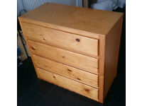 chest of 4 drawers, h70cm x w76cm x d38cm. pine wood and plyboard base in drawers. In good condition
