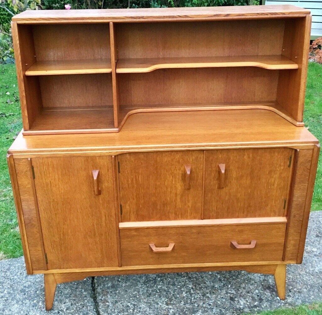Fully Red Mid Century G Plan Gomme 1950 Blonde Oak Brandon Dresser Storage Sideboard