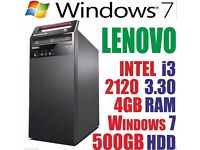 LENOVO COMPUTER TOWER DESKTOP INTEL CORE i3 2120 500GB HD 4GB RAM limited stock