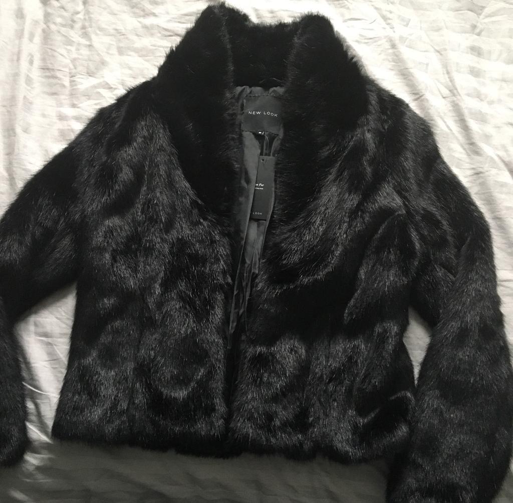 Short black faux fur jacket