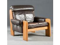 Vintage retro Danish oak wooden brown leather lounge chair armchair sofa 2 seat