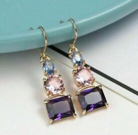 Purple Colored Gem Earrings