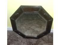 Octagon Shaped Antique Mirror Wooden Frame