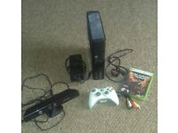 Black xbox 360 with kinect all leads 1 pad and game of wars perfect worling order