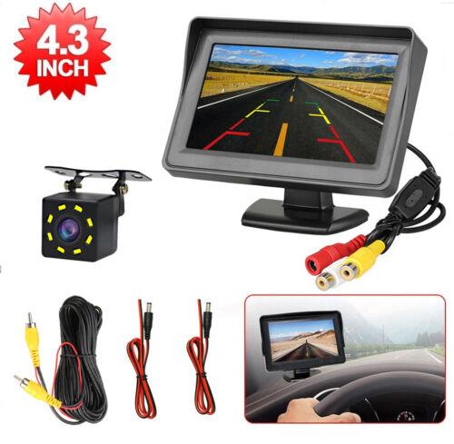 """US Car Rear View Backup Reverse 8 Led Camera Night Vision + 4.3"""" TFT LCD Monitor"""