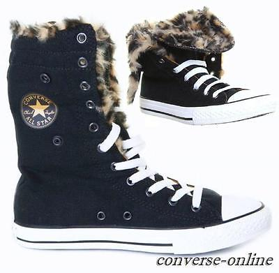 Kids Girl CONVERSE All Star HIGH TOP FUR LEOPARD Black Trainers Boots UK SIZE 11