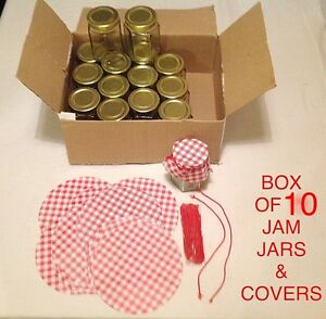10 X BOX HEXAGONAL 8oz JAM CHUTNEY PRESERVE STORAGE GLASS JARS , GINGHAM COVERS