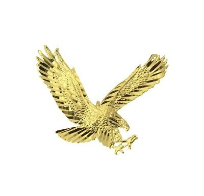 14K Solid Real Yellow Gold Diamond Cut Small Flying American Eagle Charm Pendant Diamond Cut Eagle Charm