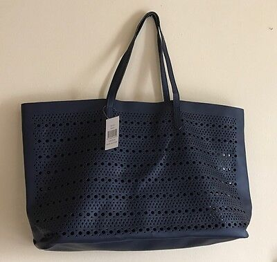 Saks 5Th Ave Tote Bag Medium Size Faux Leather Blue  0217S Gwp New