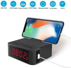 Digital Radio Alarm Clock Wireless Speaker AM FM Radio USB Charging Port Battery