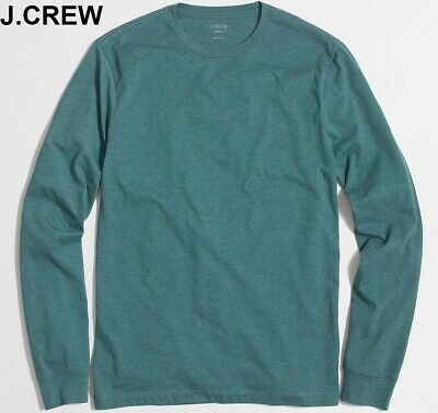 Basic Dark T-shirt (J.CREW long sleeve basic t-shirt dark green heather forest emerald tee neck nwt )