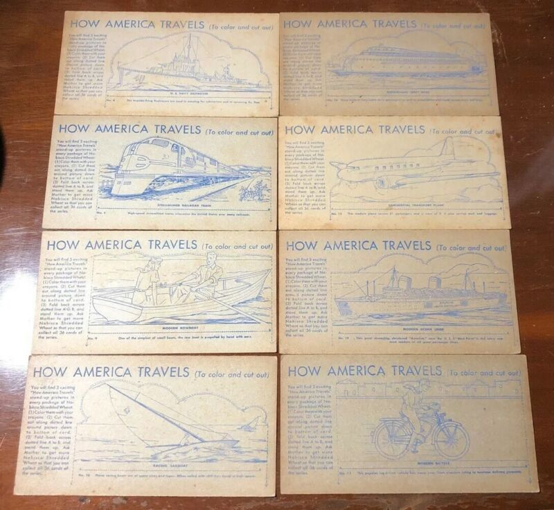 """Nabisco Shredded Wheat Cereal Premium """"How America Travels"""" Cards 8 Pieces"""