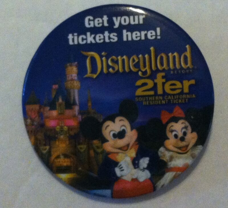 Disneyland Get your Tickets Here 2fer Mickey Mouse button Pin Back 2 inches