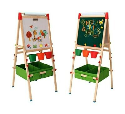 Arkmiido Kids Easel with Paper Roll Double-Sided Whiteboard & Chalkboard... Double Chalkboard Easel