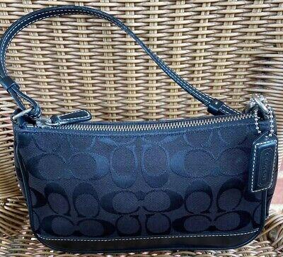 COACH Small Black Signature Demi Handbag Purse #6094 Excellent Cond. Black Demi Handbag